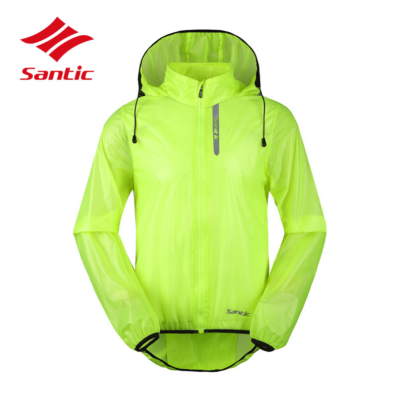 Santic Cycling Jacket Men UPF30+ Sunproof&Waterproof Bike Jersey Rainproof Hooded Bicycle Rain Jacket Raincoat Ropa Ciclismo