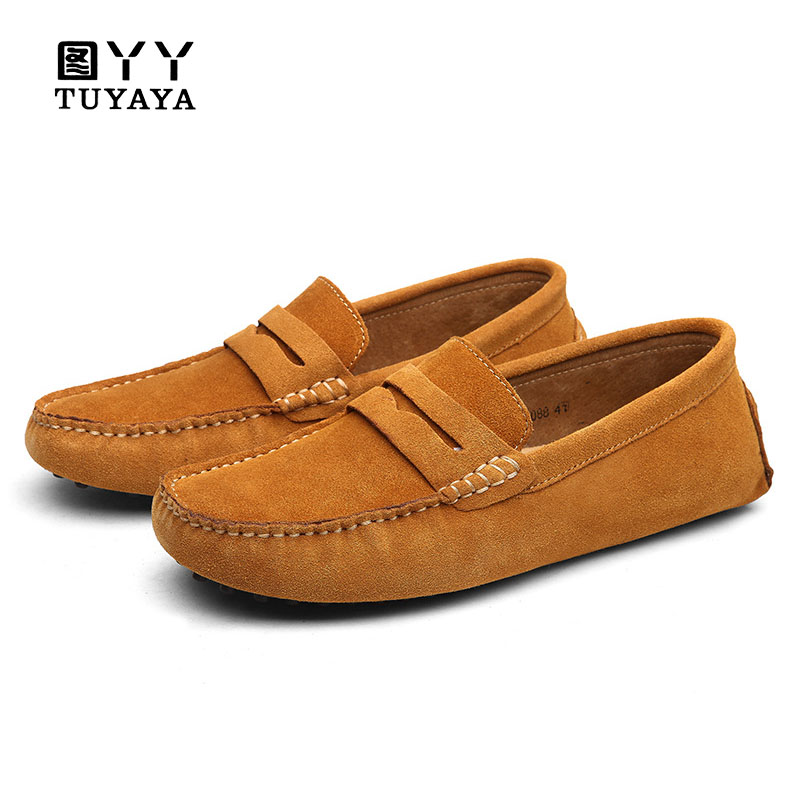 Men Casual Suede Leather Loafers Black Solid Leather Driving Moccasins Gommino Slip on Men Loafers Shoes Male Loafers Big Size