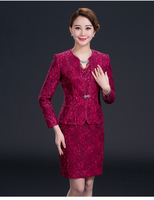 2019 Lace pattern mother's dress of wedding rose red bead Mother Of The Bride Dresses 2018 Appliques Elegant Formal Party Gowns
