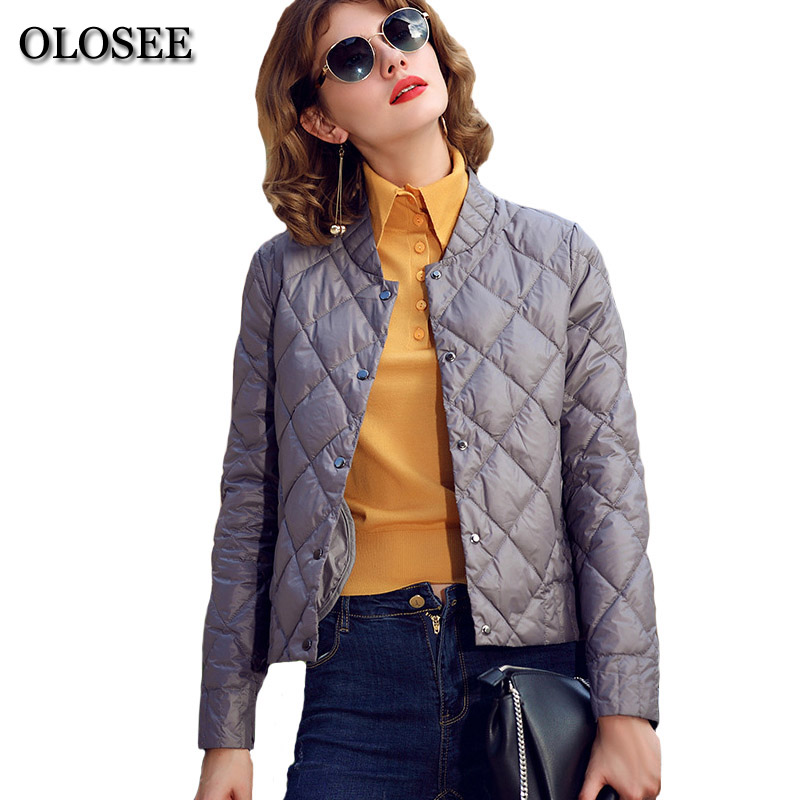Spring Winter Short Thin Down Jackets For Women Lady Ultra Light Parka Outerwear Female 90% White Duck Down Coat Y1731
