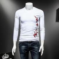 Plum Flower Embroidery T Shirt Men Long Sleeve Comfortable Slim Fit Men S T Shirts Black