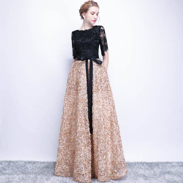 a9c9f85dbc7c8 SSYFashion New Evening Dress The Bride Elegant Banquet Black with Khaki  Contrast Color Lace Floor-length Long Prom Party Gowns
