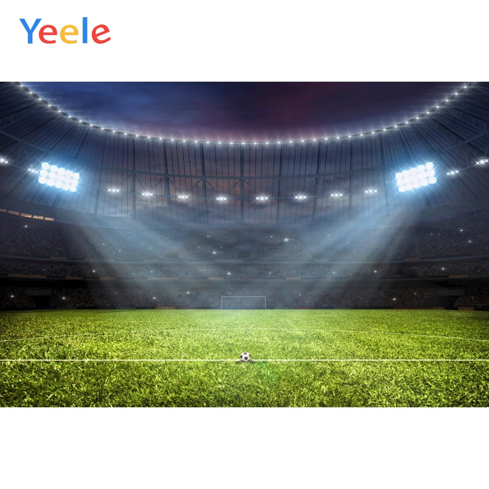 Yeele Green Sky Football Field Soccer Audience Baby Photography Backgrounds Customized Photographic Backdrops for Photo Studio in Background from Consumer Electronics