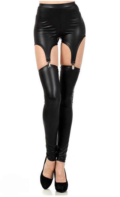 T2268 Solid black color new sexy ripped legging novelty fashionable patchwork faux leather legging special design women legging