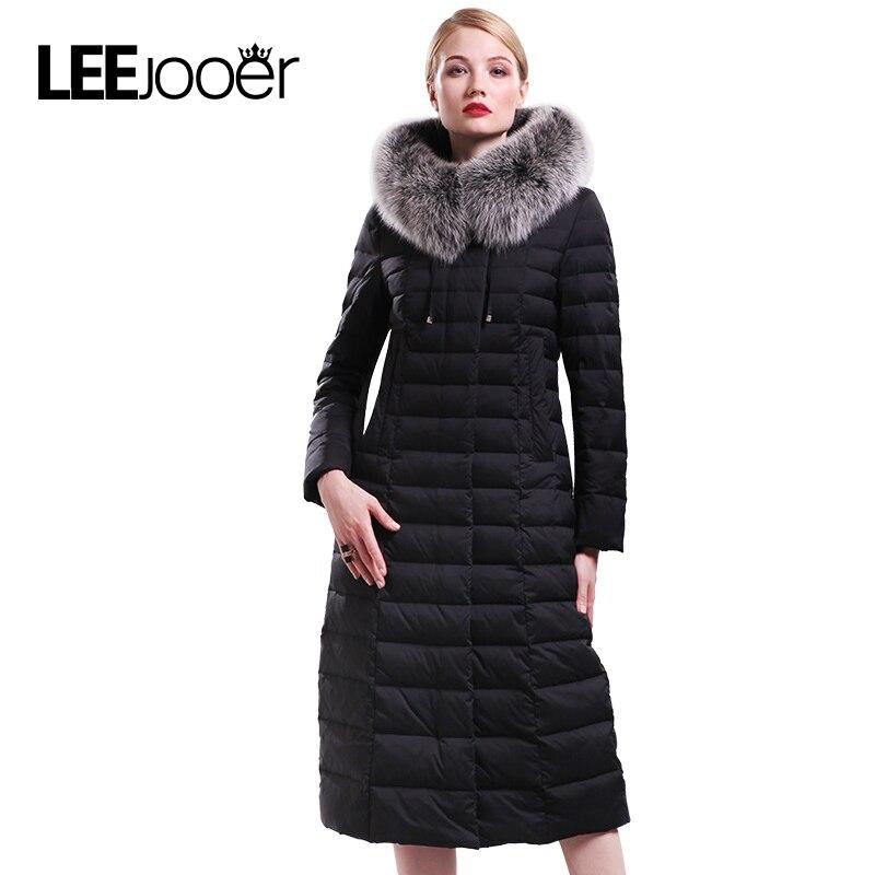 LEEJOOER 2017 New Winter Collection Women Down Coat Jacket Warm High Quality Silver Fox Fur Woman Down Parka Winter Coats цены онлайн