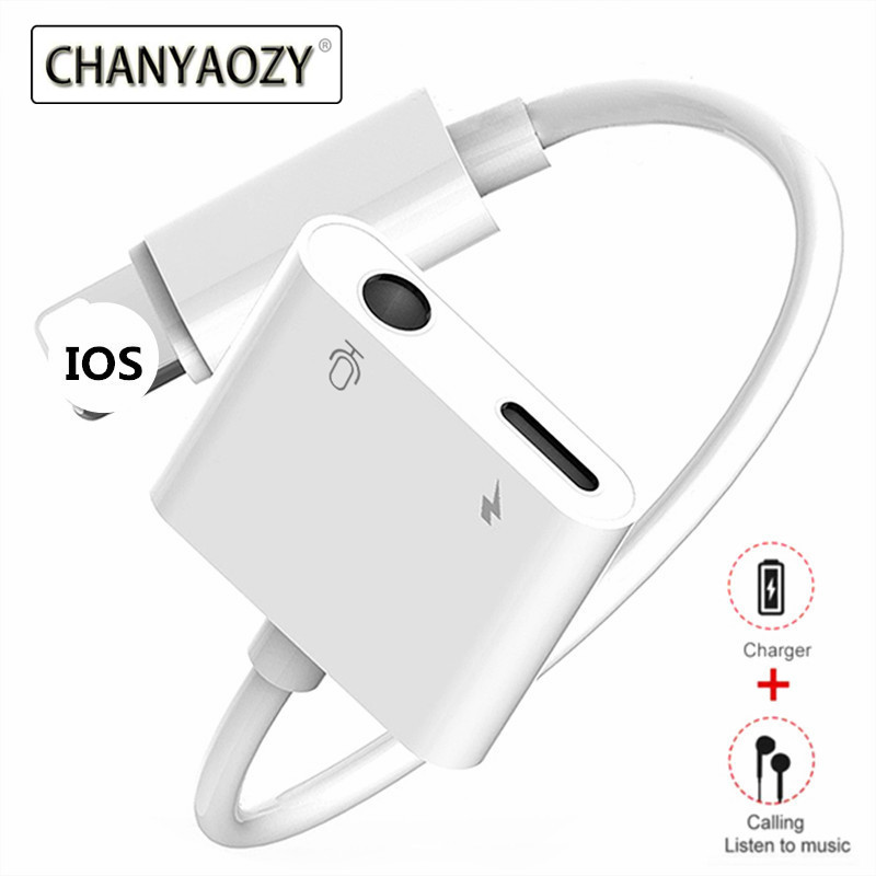 3.5mm Headphone Jack Audio Converter Splitter Earphone Aux Lighting Plug Charger For IPhone 6 7 8 Plus X XS XR MAX IOS Adapter