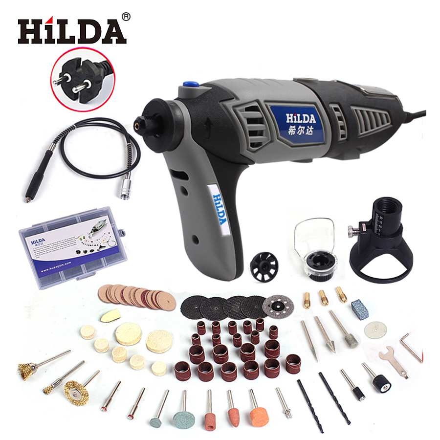 HILDA 180W Electric Mini Drill Variable Speed Rotary Tool For Dremel Mini Electric Grinder Dremel Accessories drill machine hilda 115mm detailers grip attachment mini electric grinder handle grips bar for dremel rotary tool