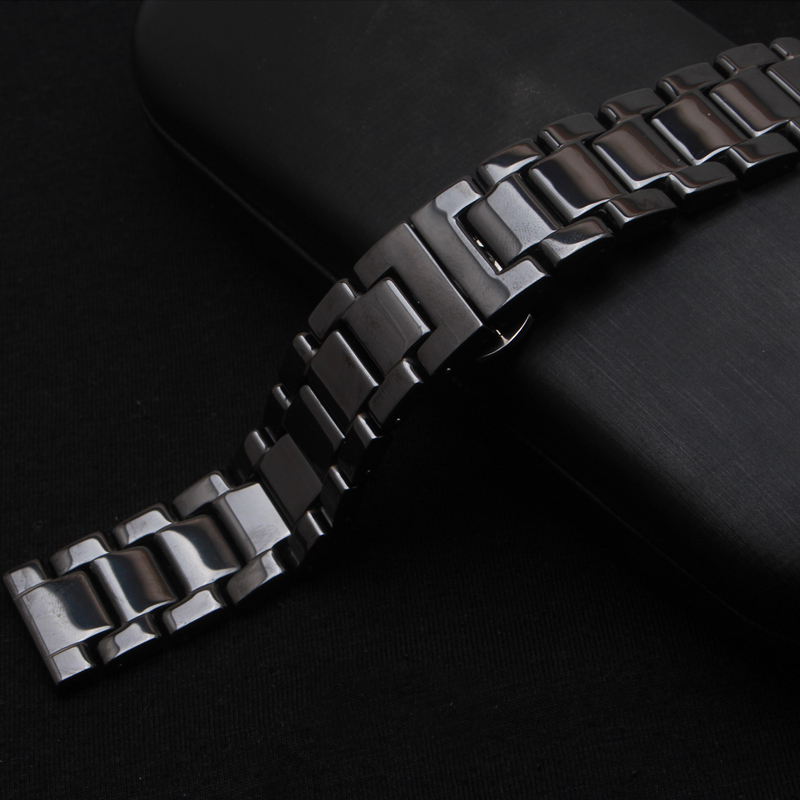 Ceramic Watchband black Watch band 14MM 16MM 18MM 20MM 22mm watch straps Butterfly Buckle wristband bracelet for quartz watches hot sale ceramic 14mm 16mm 18mm 19mm 20mm 22mm black white watchband men women bracelet for women dress new general watch strap