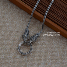 925 sterling silver jewelry retro Thai silver chain universal wild sweater chain necklace with chain length 71cm free shipping 8mm solid pure sterling silver 925 mens chain bracelet simple cool style thai silver mens jewelry polished link chain free box