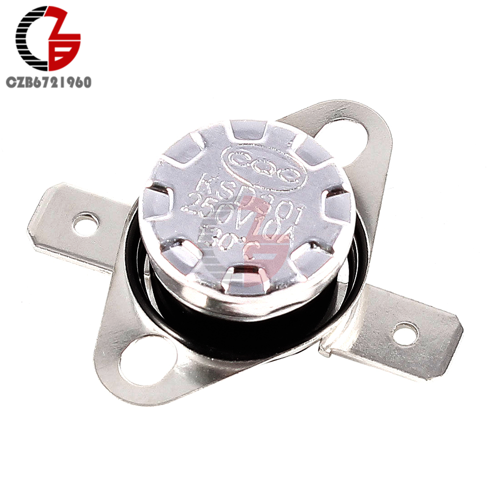 250V 10A KSD301 Temperature Switch Thermostat Normal Closed Open NC Thermal Sensor Control Switch 30-130 Degree Celsius On-Off