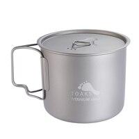 Outdoor Titanium Pot Camping Titanium Bowl Ultralight Coffee Mug Portable Picnic Drinkware with lid Portable Camping Cup 550ml