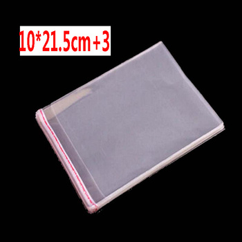 1000 pcs 10 x 21.5+3 cm Crystal Clear Poly Cello Bag Self Adhesive Seal Opp plastic Cellophane Bags