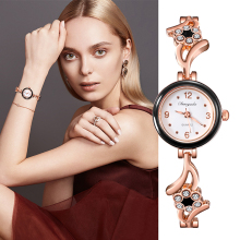 New Fashion Rhinestone Watches Women Luxury Brand Stainless Steel Brac