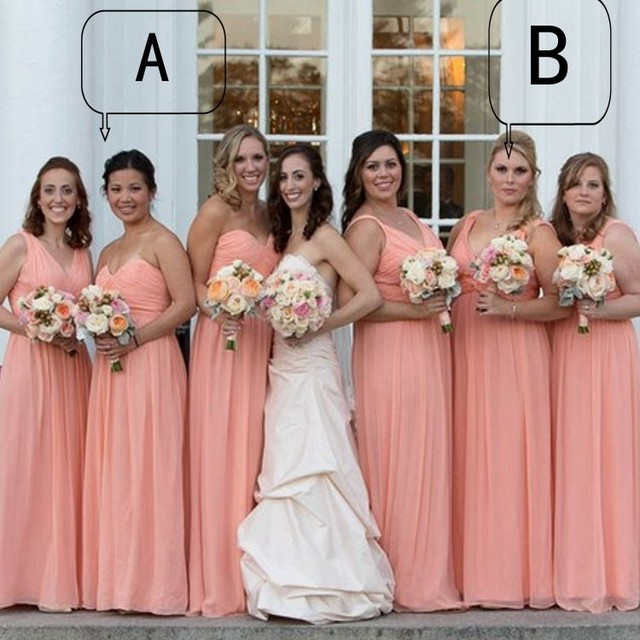 Plus Size Peach Color Bridesmaid Dresses Elegant Chiffon Long Dress To Formal Party Sweetheart Off The