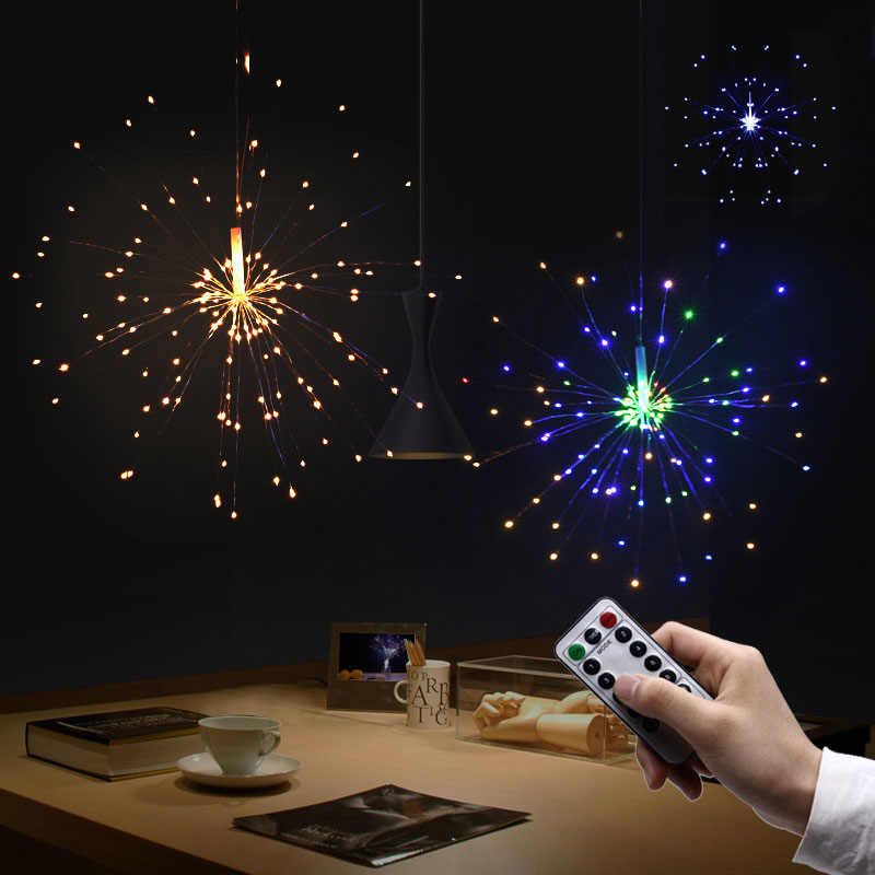 80led remote controlled silver hanging starburst string light wtimer controller battery operate christmas wedding outdoor deco