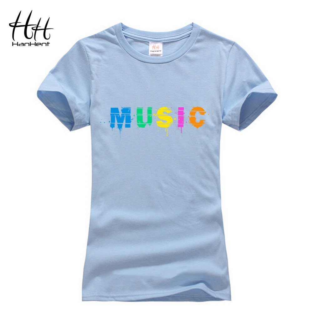 hanhent fashion music letter printed rock t shirts woman. Black Bedroom Furniture Sets. Home Design Ideas