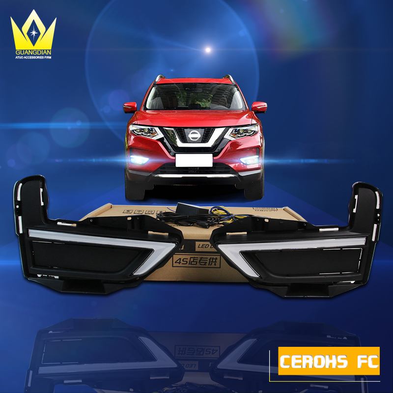 Night lord DRL for Nissan X-trail xtrail X trail 2017 DRL LED Daytime Running Lights With Yellow Turn Signal Light автомобильный dvd плеер zhoon android 4 2 2 dvd gps xtrail nissan x trail