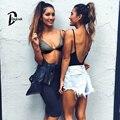 DayLook 2016 Verano Estilo Sexy Recortada Tops Bralet Plunge Strappy Tops Plus Size S-XL 4 Colores Femininas Camisolas