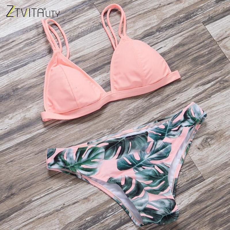 Hot Sale Brazilian Biquini 2017 Summer Style Beach Swimwear Women Print Bikini Set Sexy Swimsuit Bikinis