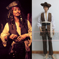 Custom Made Piraten van de Caribbean Captain Jack Sparrow Cosplay Kostuum Outfit Elke Grootte