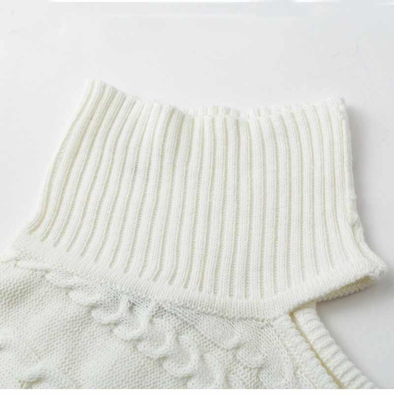 Áo mùa đông Nữ Chui Đầu Phẳng Dệt Kim Một Trong Vai Gợi Cảm Áo Len Nữ Dài Tay Cổ Cao Cổ Màu Hồng Trắng Áo Len