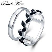 [黒芒] 誇張 3.7 グラム 925 スターリングシルバーファインジュエリートレンディ婚約バゲ黒スピネル葉女性の結婚指輪 G001