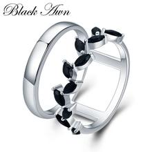 [BLACK AWN] Hyperbole 3.7g 925 Sterling Silver Fine Jewelry Trendy Engagement Bague Black Spinel Leaf Womens Wedding Ring G001