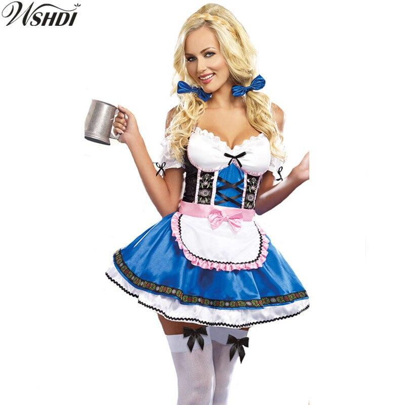 S-XXL Hot Sale Sexy Blue Beer Maid Uniforms Sexy Blue Beer Waitress Dirndl Costume Oktoberfest Beer Girl Fancy Dress