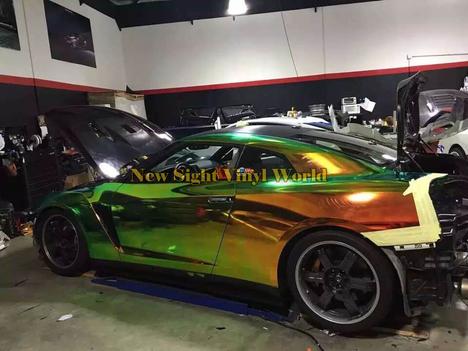 Best Quality Green Gold Rainbow Chrome Vinyl Wrapping Film Rainbow Vinyl Roll Bubble Free For Car Decal high quality apple green carbon fiber film vinyl car sticker for car wrapping with air bubble free fedex free shipping 30m roll