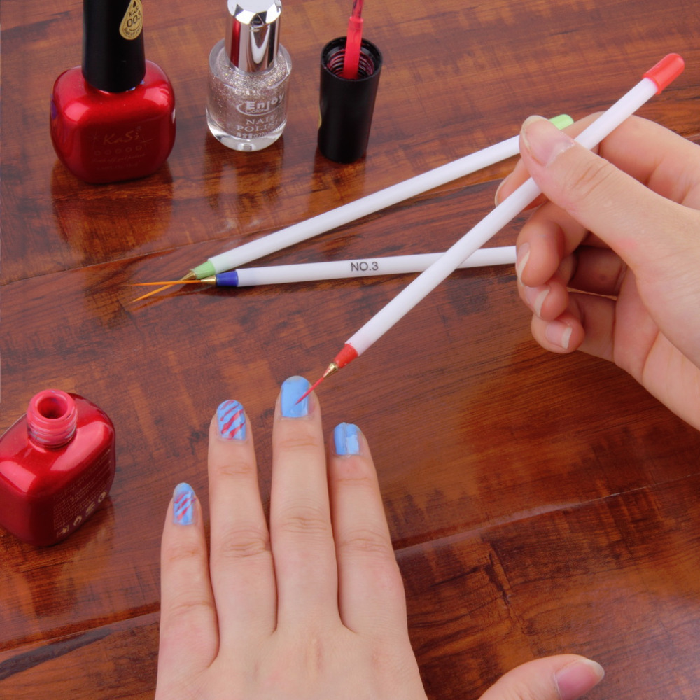 3pcs Nail Art Design DIY Drawing Painting Striping Nail Gel Pen Nail ...