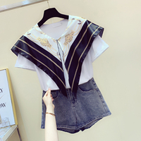Korean Style Scarf Stitching T shirt for Women Summer Navy Lapel Shirt Female Lady Temperament Tshirt Tops T Shirts Students Tee