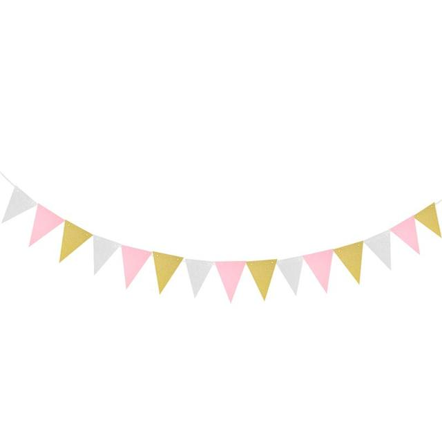 3 Meters Babys Birthday Banners Multicolor Glitter Pennant Flags Garland Streamer Baby Room Nursery Hanging Decor