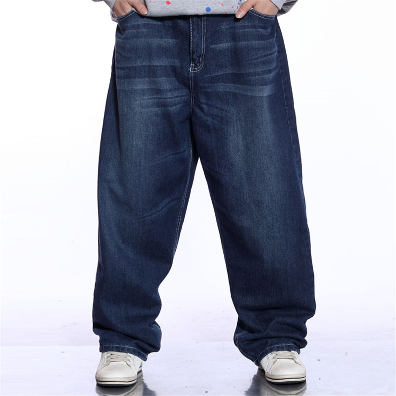 2019 New Skateboard Wide Leg Pants Retro Hip Hop Street Dance Pants Solid Color Loose Tide Men's Jeans More Size 30-44 46