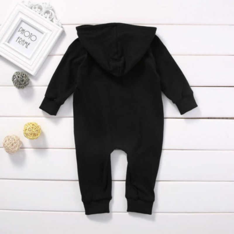 Focusnorm хлопковые для маленьких мальчиков Детские зимние штаны теплые с капюшоном с длинным рукавом черный комбинезон одежда с капюшоном наряды