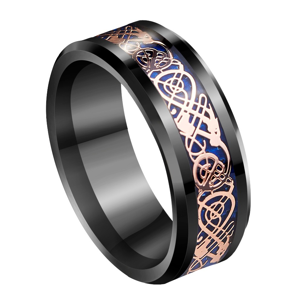 8mm Black Tungsten Ring Rose Gold Celtic Dragon Carbon Fibre