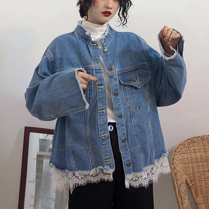 2019 Fashion Spring Denim   Jacket   Women long sleeve Lace Patchwork jeans   Jacket   Loose   Basic     Jacket   for Women chaqueta mujer