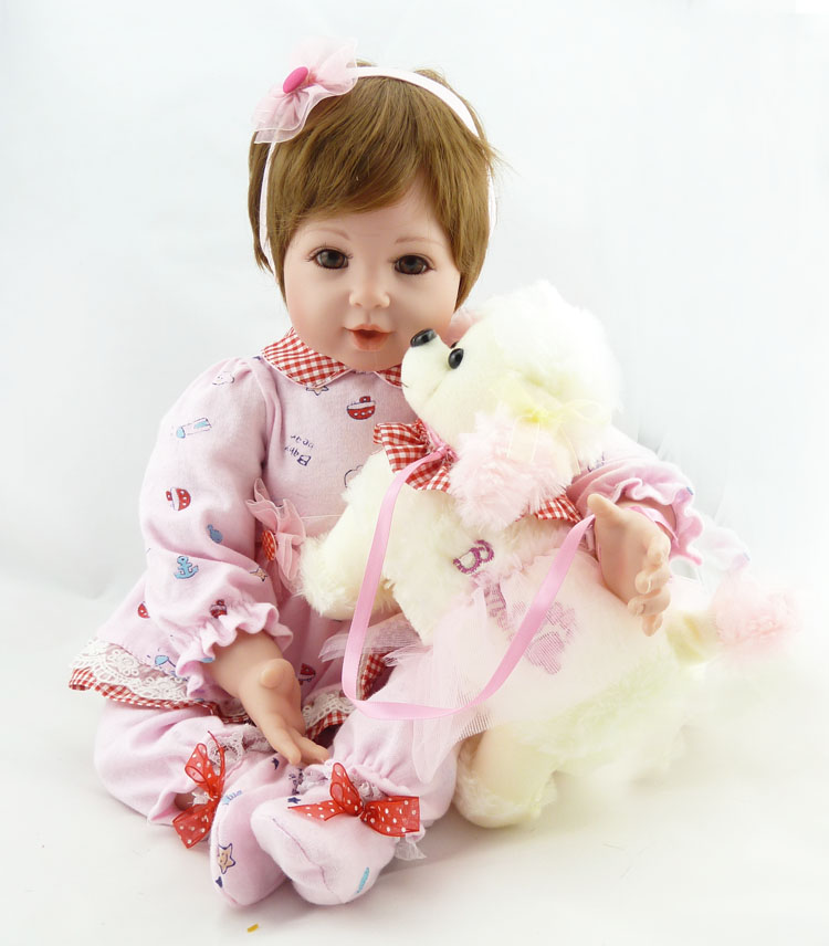 22 Short Hair Doll Silicone Baby Dolls for Sale Princess Pink Dress Reborn Newborn Doll New Year Christmas Gift for Girl 22 58cm rebirth doll soft silicone eva matryoshka doll princess reborn domino dress blond kid christmas gift