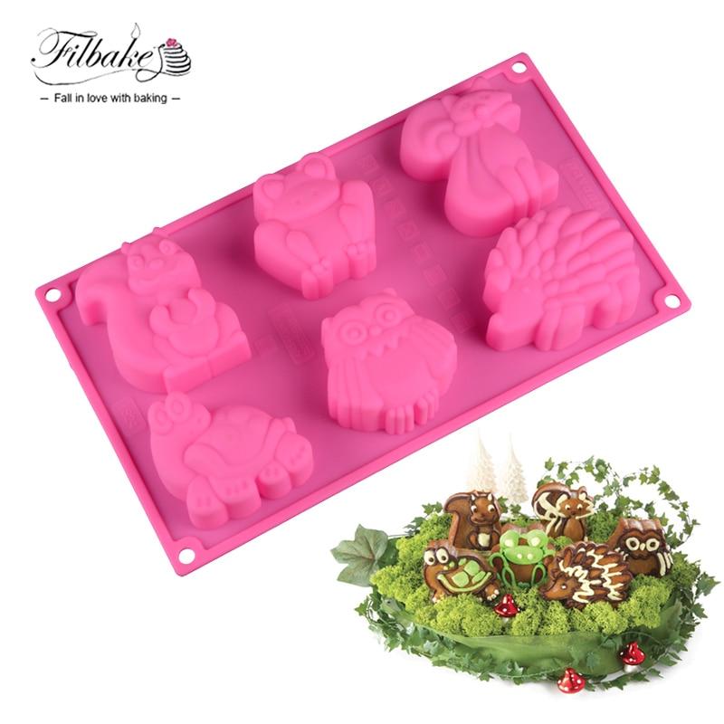 FILBAKE 6 Hole Animal Shape Cake Mold Frog Kangaroo Turtle Hedgehog DIY Silicone Mould For Make Jelly Chocolate Baking Tools