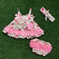 2016 little girls boutique clothing sets infant girl clothes baby pink rose foral  bow swing ooutfits tops  matching  headband