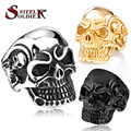 Steel soldier Drop Ship 2015 Fashion Ring Stainless Steel Rings For Man Big Tripple Skull Ring Punk Biker Jewelry BR8-068