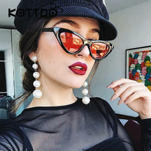 Black Small Triangle Cat Eye Frame Sunglasses Women UV400 Retro White Vintage Female Sun glasses Red Frame Protection uv400