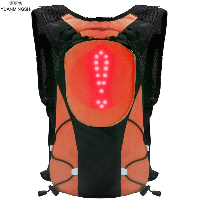 YUANMINGSHI High Visibility Reflective Cycling Safety LED Backpack Bag With Remote Control for Night Cycling Safety Rucksack
