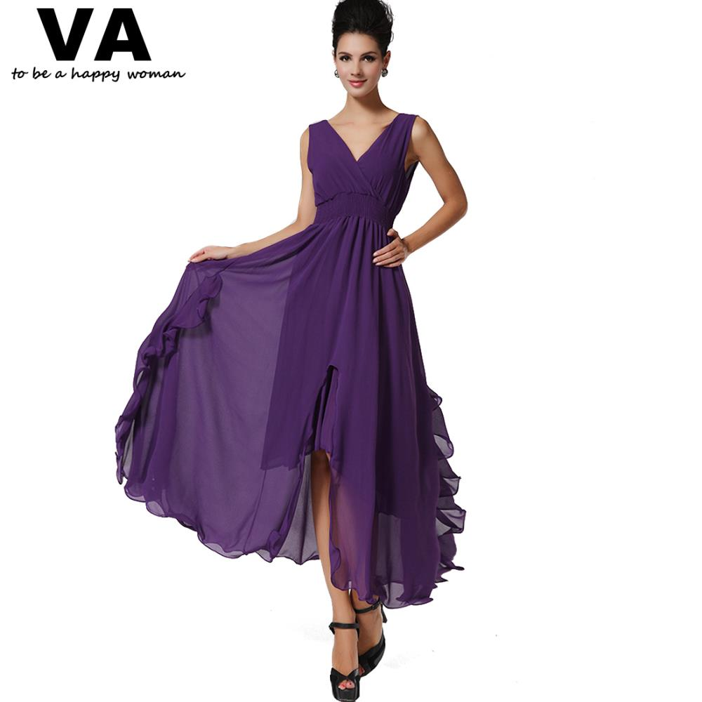 Buy Cheap Women Sexy Purple Dresses Chiffon V Neck Split A Line Dress Woman Summer Casual New Arrival Slim Elegant Vestido Longo W00524