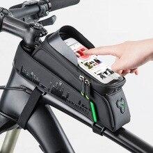 ROCKBROS велосипед мешок спереди телефон на велосипеде сумка для велосипеда трубки Водонепроницаемый Сенсорный экран велосипедная сумка для 5,8/6 велосипед аксессуары