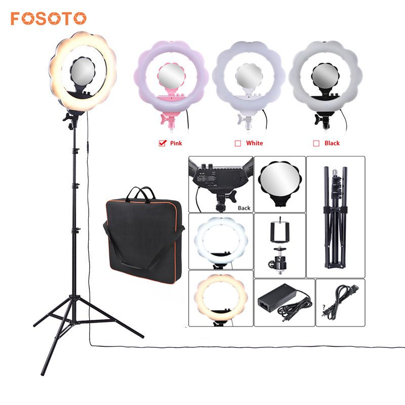fosoto 18 Photographic Lighting 3000K 6000K 384Leds Dimmable Camera Phone Video Photography Ring Light Lamp Tripod