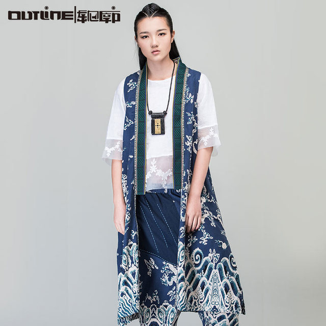 Outline Brand Woman Spring Vintag Vest In Chinese Style Outwear Loose Cardigan With Print Splice Coat Cotton Linen Vest L161Y009