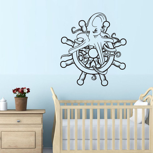 Free shipping Marine Octopus Hold The Ship Wheel Vinyl Wall Sticker Funny Octopus Art Wall Decals Home Decor For Kids Room