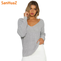 SanHuaZ Brand 2017 Fall Autumn Winter Women S Sweaters Casual V Neck Long Sleeve Backless Loose