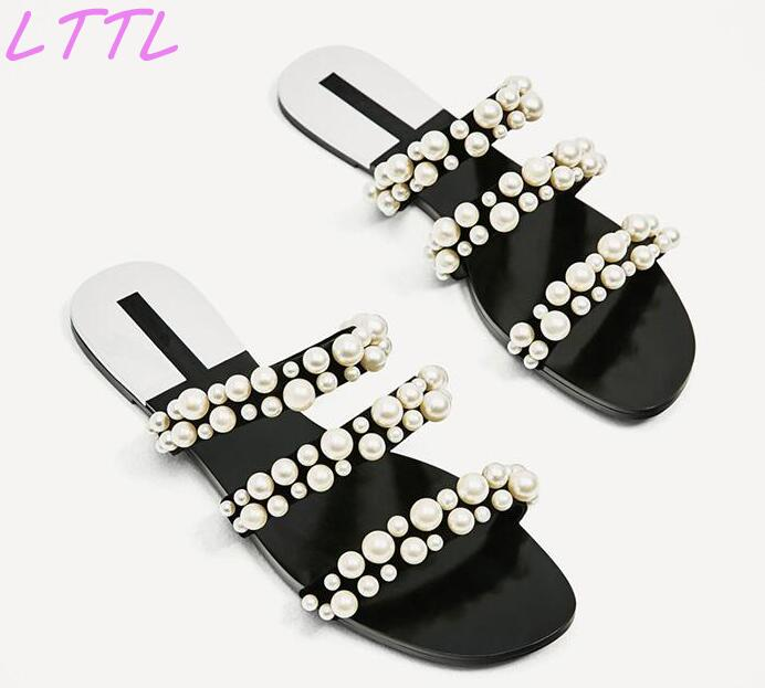 Summer Fashion Elegant Pearl Straps Women Slip On Sandals Open Toe Ladies Flat Slides Cut Out Style Female Dress Shoes summer fashion rhinestone straps women open toe sandals cut out style ladies luxury high heels sexy club shoes size 42
