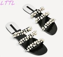 Summer Fashion Elegant Pearl Straps Women Slip On Sandals Open Toe Ladies Flat Slides Cut Out Style Female Dress Shoes